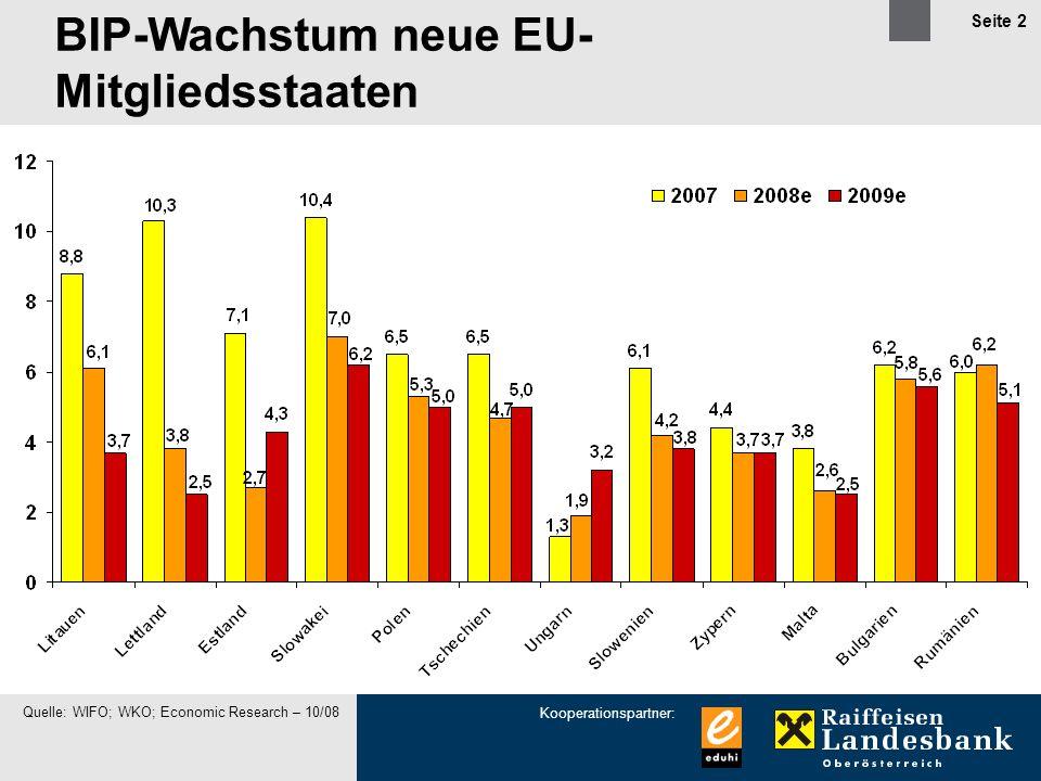 Kooperationspartner: Seite 2 Quelle: WIFO; WKO; Economic Research – 10/08 BIP-Wachstum neue EU- Mitgliedsstaaten