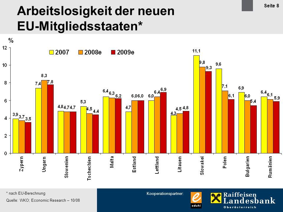 Kooperationspartner: Seite 8 % * nach EU-Berechnung Quelle: WKO; Economic Research – 10/08 Arbeitslosigkeit der neuen EU-Mitgliedsstaaten*