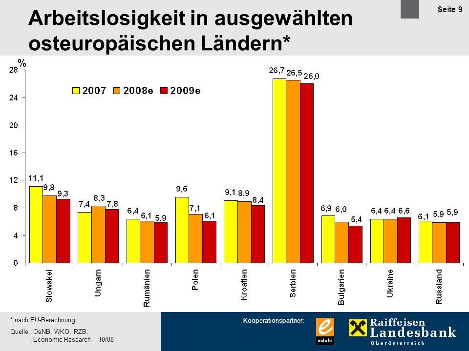 Kooperationspartner: Seite 9 % * nach EU-Berechnung Quelle:OeNB, WKO, RZB; Economic Research – 10/08 Arbeitslosigkeit in ausgewählten osteuropäischen Ländern*