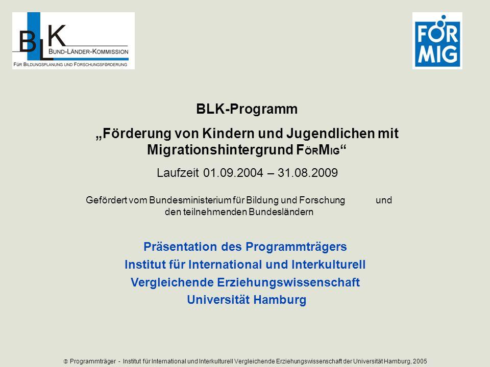 Präsentation des Programmträgers Institut für International und Interkulturell Vergleichende Erziehungswissenschaft Universität Hamburg Programmträger