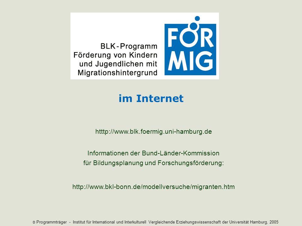 im Internet htttp://www.blk.foermig.uni-hamburg.de Informationen der Bund-Länder-Kommission für Bildungsplanung und Forschungsförderung: http://www.bk