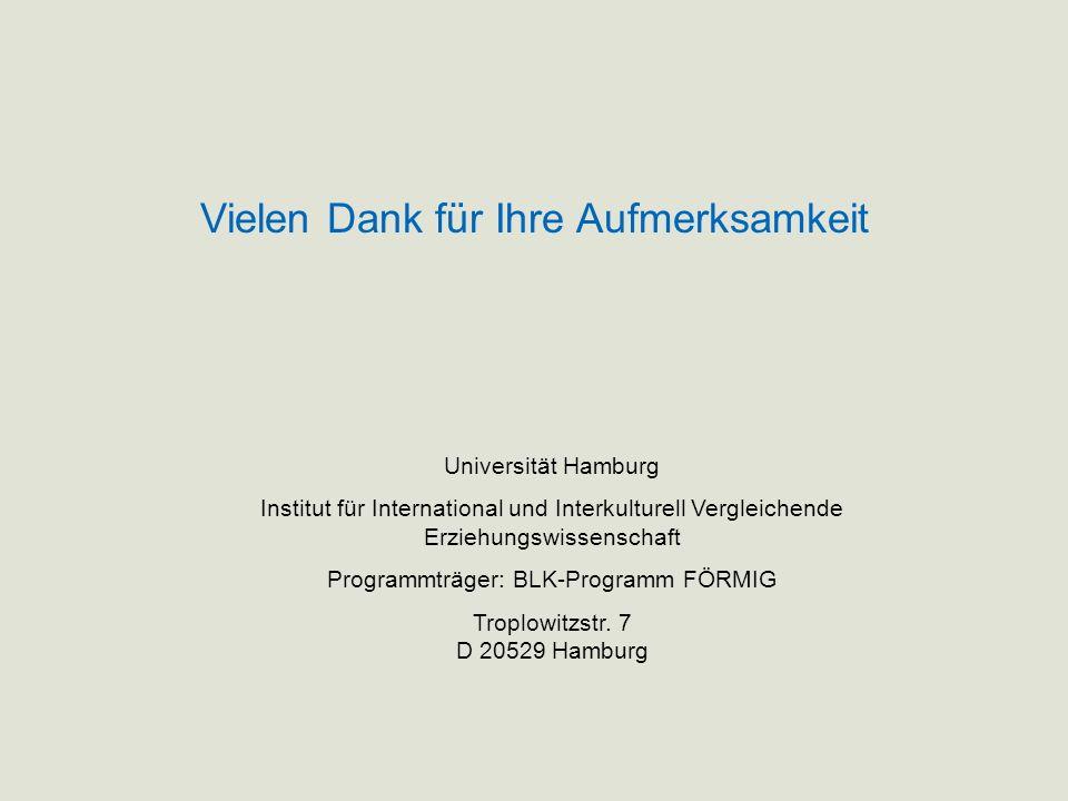 Universität Hamburg Institut für International und Interkulturell Vergleichende Erziehungswissenschaft Programmträger: BLK-Programm FÖRMIG Troplowitzs