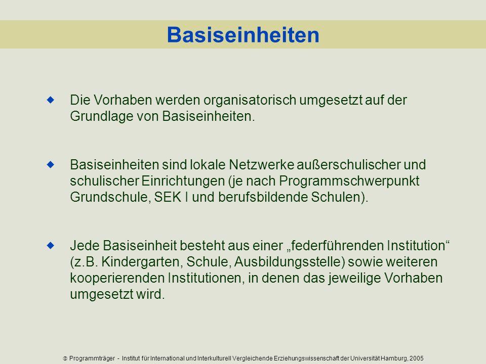 Basiseinheiten Die Vorhaben werden organisatorisch umgesetzt auf der Grundlage von Basiseinheiten. Basiseinheiten sind lokale Netzwerke außerschulisch