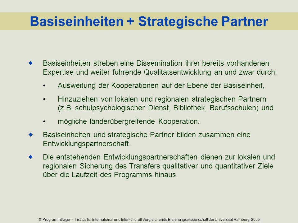 Basiseinheiten + Strategische Partner Basiseinheiten streben eine Dissemination ihrer bereits vorhandenen Expertise und weiter führende Qualitätsentwi