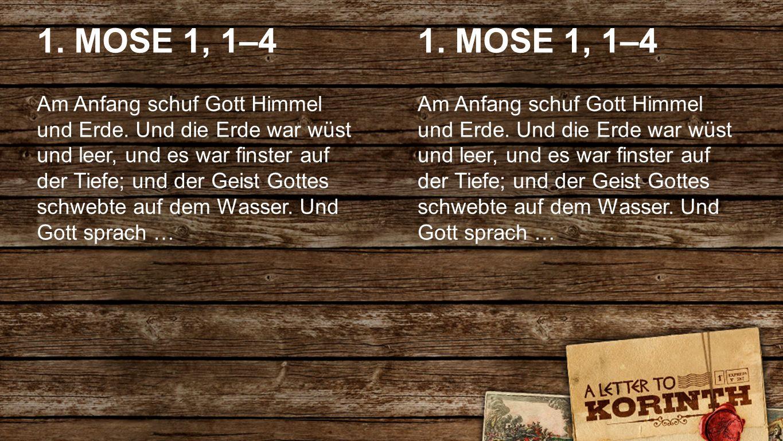 International 2spaltig ENGLISH 1. MOSE 1, 1–4 Am Anfang schuf Gott Himmel und Erde. Und die Erde war wüst und leer, und es war finster auf der Tiefe;
