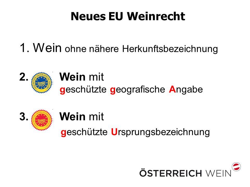 Neues EU Weinrecht 1.Wein ohne nähere Herkunftsbezeichnung 2. Wein mit geschützte geografische Angabe 3. Wein mit geschützte Ursprungsbezeichnung
