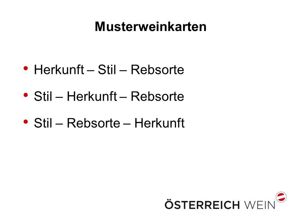 Musterweinkarten Herkunft – Stil – Rebsorte Stil – Herkunft – Rebsorte Stil – Rebsorte – Herkunft