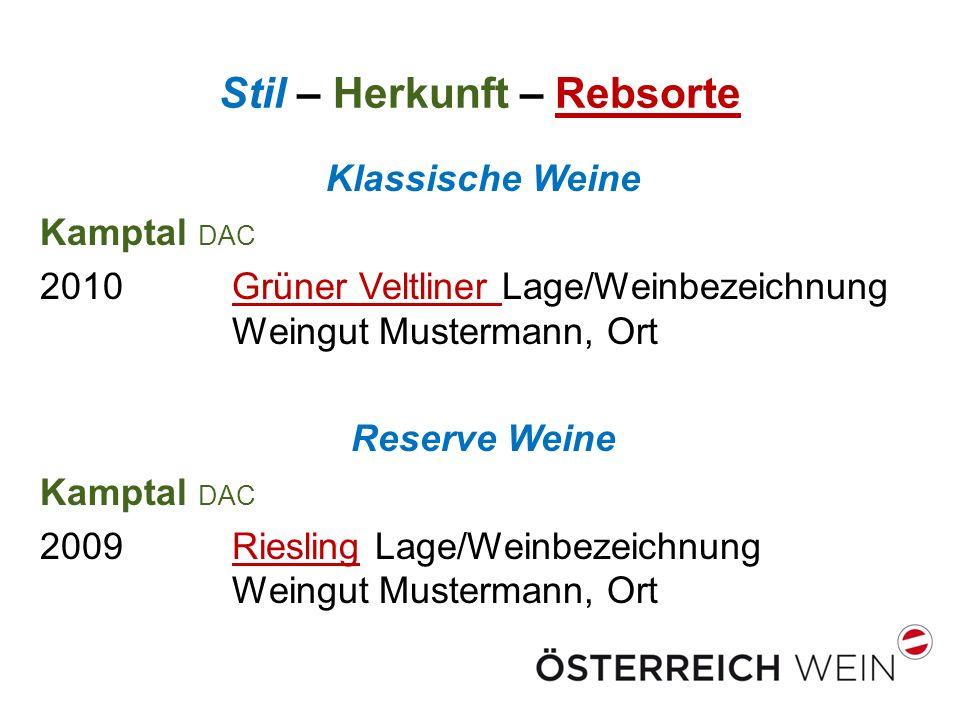 Stil – Herkunft – Rebsorte Klassische Weine Kamptal DAC 2010Grüner Veltliner Lage/Weinbezeichnung Weingut Mustermann, Ort Reserve Weine Kamptal DAC 20