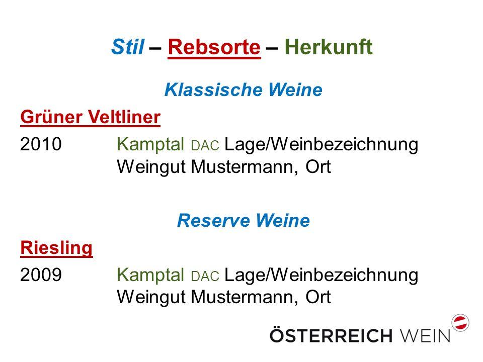Stil – Rebsorte – Herkunft Klassische Weine Grüner Veltliner 2010Kamptal DAC Lage/Weinbezeichnung Weingut Mustermann, Ort Reserve Weine Riesling 2009 Kamptal DAC Lage/Weinbezeichnung Weingut Mustermann, Ort