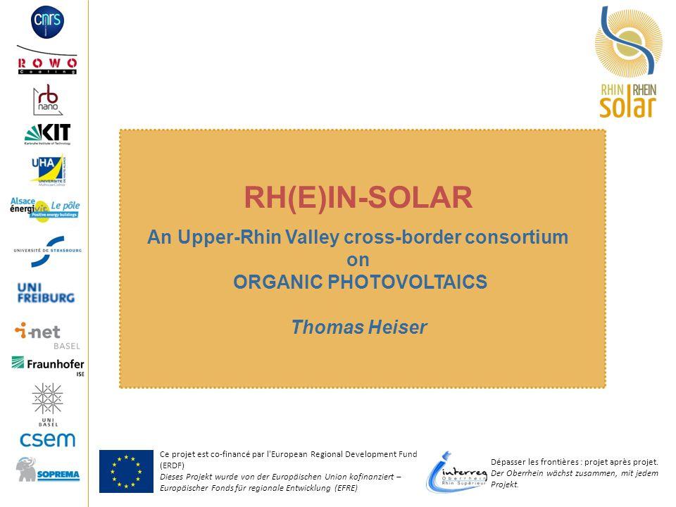 Ce projet est co-financé par l'European Regional Development Fund (ERDF) Dieses Projekt wurde von der Europäischen Union kofinanziert – Europäischer F