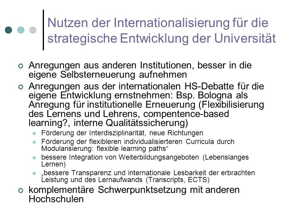 Nutzen der Internationalisierung für die strategische Entwicklung der Universität Anregungen aus anderen Institutionen, besser in die eigene Selbsterneuerung aufnehmen Anregungen aus der internationalen HS-Debatte für die eigene Entwicklung ernstnehmen: Bsp.