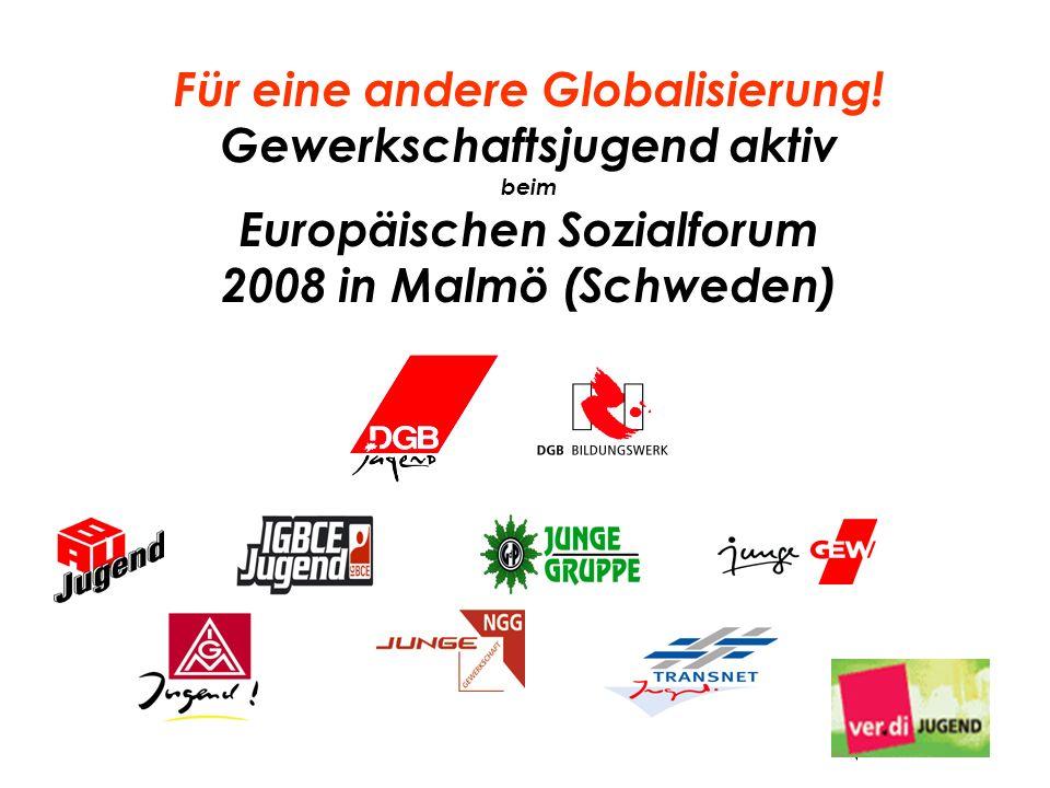 Für eine andere Globalisierung! Gewerkschaftsjugend aktiv beim Europäischen Sozialforum 2008 in Malmö (Schweden)