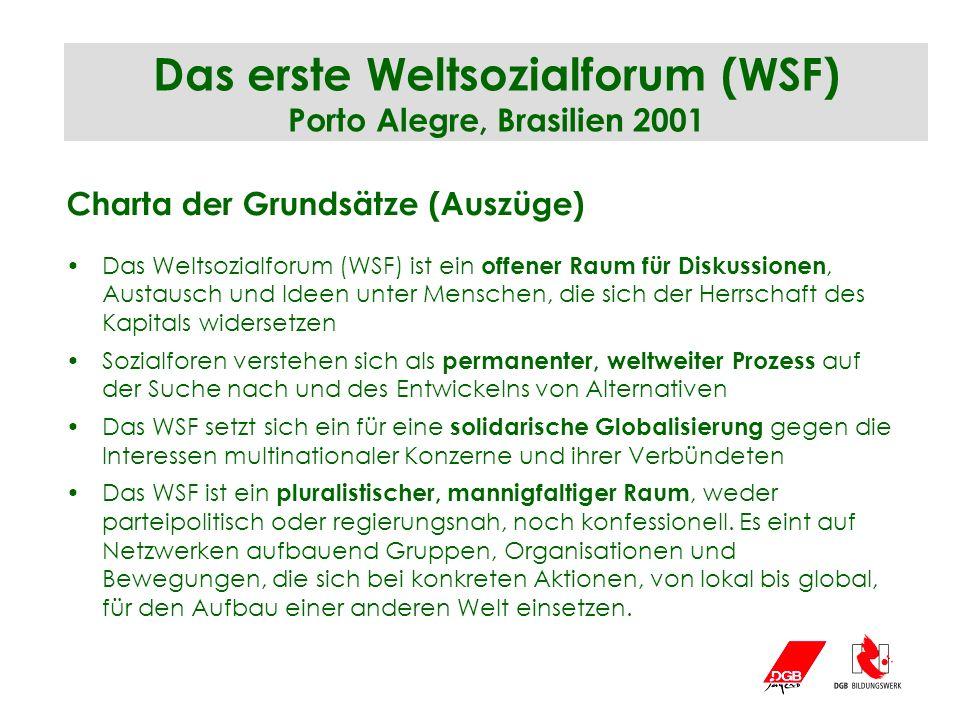 Das erste Weltsozialforum (WSF) Porto Alegre, Brasilien 2001 Charta der Grundsätze (Auszüge) Das Weltsozialforum (WSF) ist ein offener Raum für Diskus