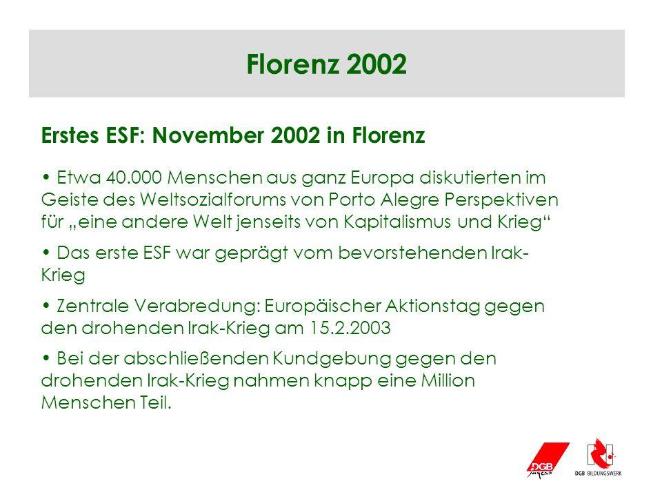 Florenz 2002 Erstes ESF: November 2002 in Florenz Etwa 40.000 Menschen aus ganz Europa diskutierten im Geiste des Weltsozialforums von Porto Alegre Pe