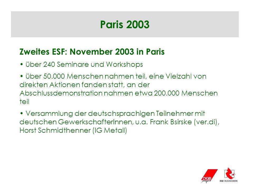 Zweites ESF: November 2003 in Paris über 240 Seminare und Workshops über 50.000 Menschen nahmen teil, eine Vielzahl von direkten Aktionen fanden statt