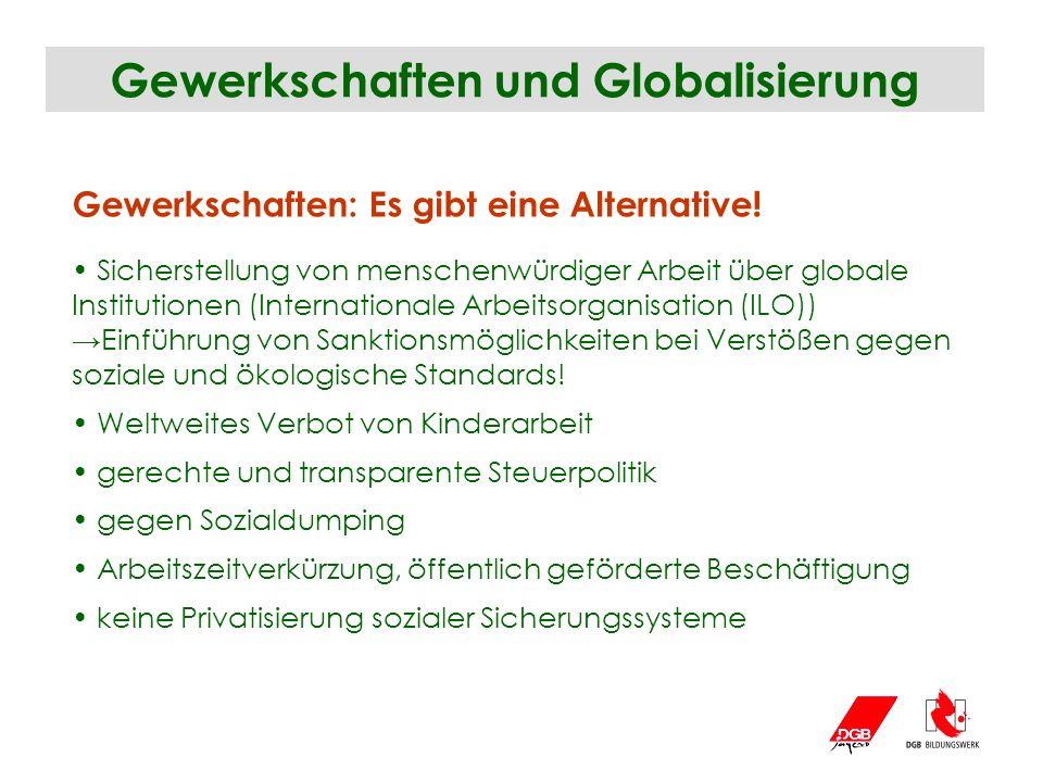 Gewerkschaften und Globalisierung Gewerkschaften: Es gibt eine Alternative! Sicherstellung von menschenwürdiger Arbeit über globale Institutionen (Int