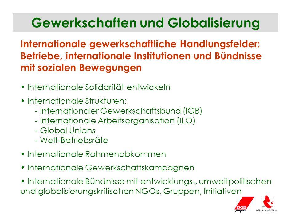 Gewerkschaften und Globalisierung Internationale gewerkschaftliche Handlungsfelder: Betriebe, internationale Institutionen und Bündnisse mit sozialen