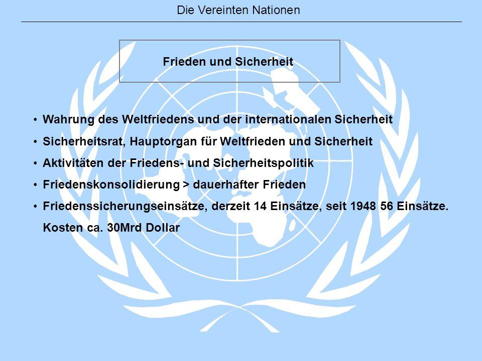 Die Vereinten Nationen Frieden und Sicherheit Wahrung des Weltfriedens und der internationalen Sicherheit Sicherheitsrat, Hauptorgan für Weltfrieden u