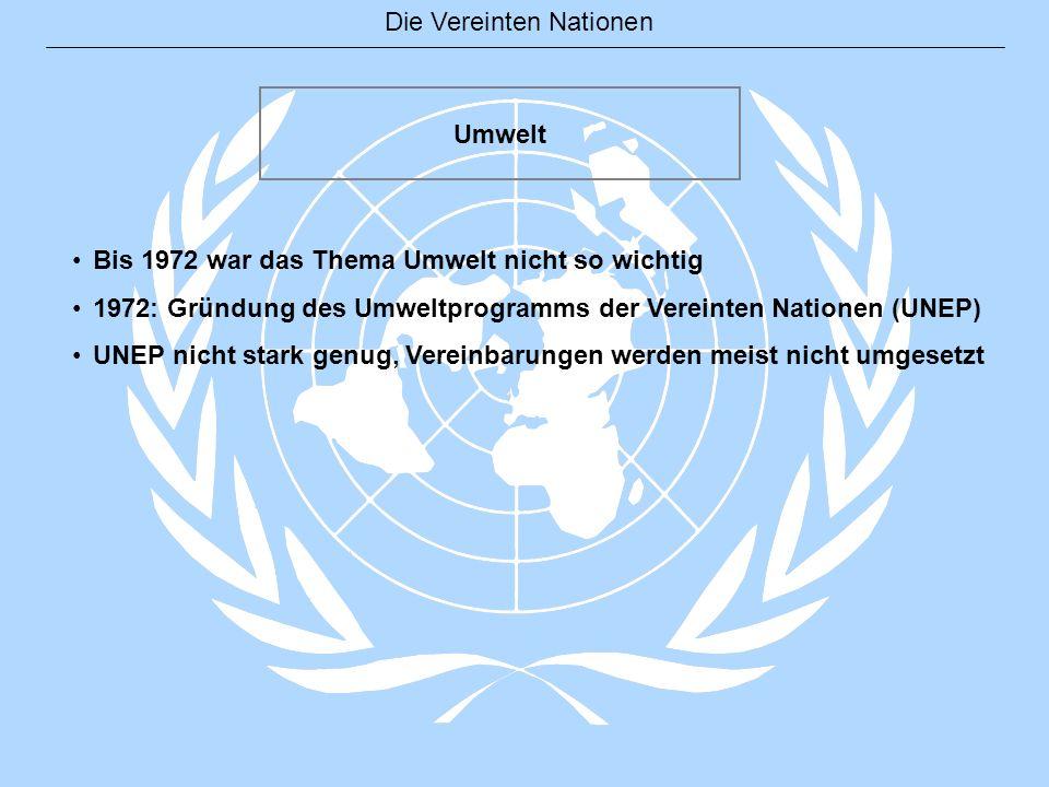 Die Vereinten Nationen Umwelt Bis 1972 war das Thema Umwelt nicht so wichtig 1972: Gründung des Umweltprogramms der Vereinten Nationen (UNEP) UNEP nic