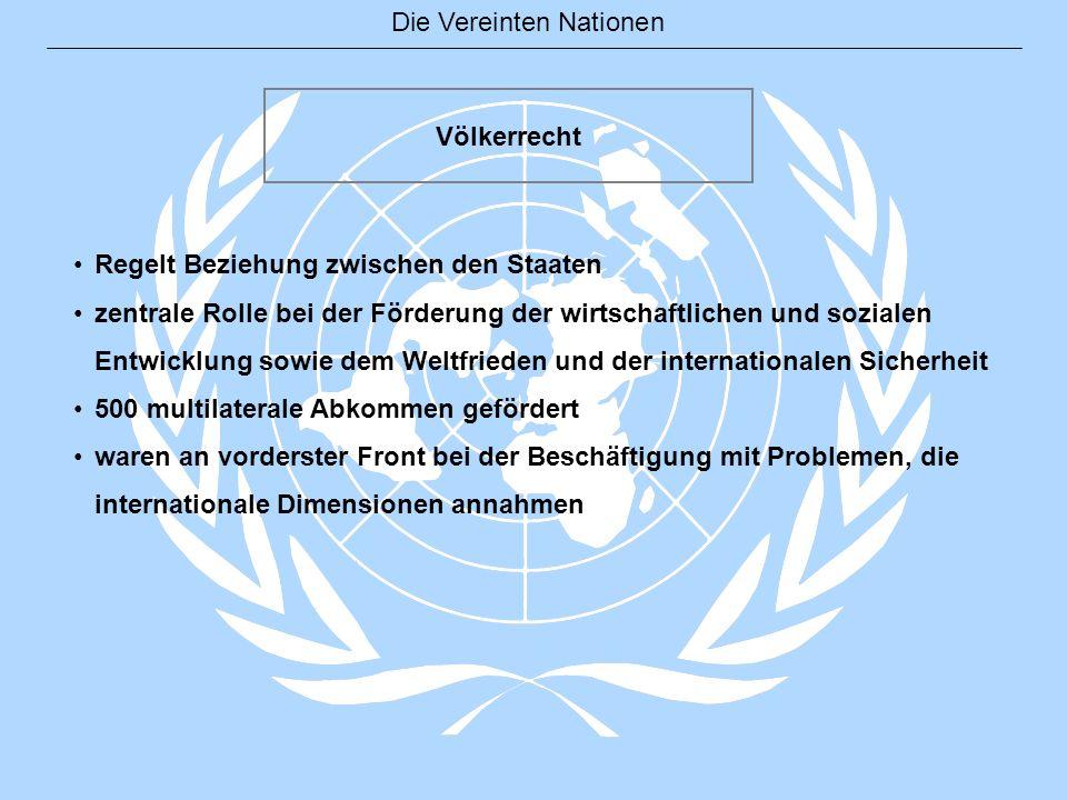Die Vereinten Nationen Völkerrecht Regelt Beziehung zwischen den Staaten zentrale Rolle bei der Förderung der wirtschaftlichen und sozialen Entwicklun