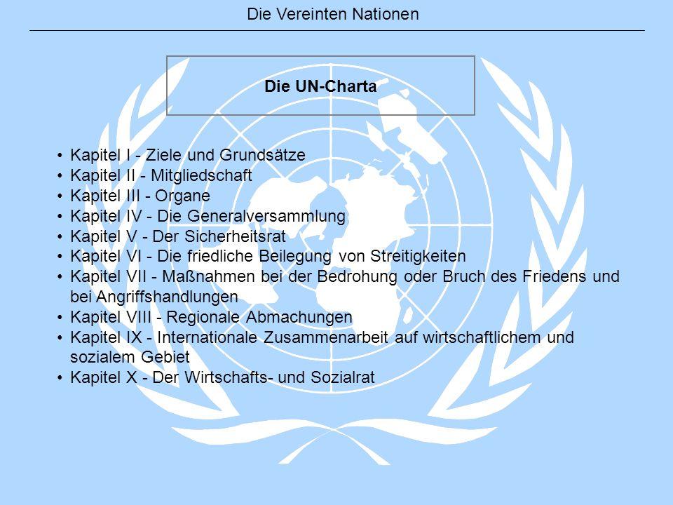 Die Vereinten Nationen Die UN-Charta Kapitel I - Ziele und Grundsätze Kapitel II - Mitgliedschaft Kapitel III - Organe Kapitel IV - Die Generalversamm