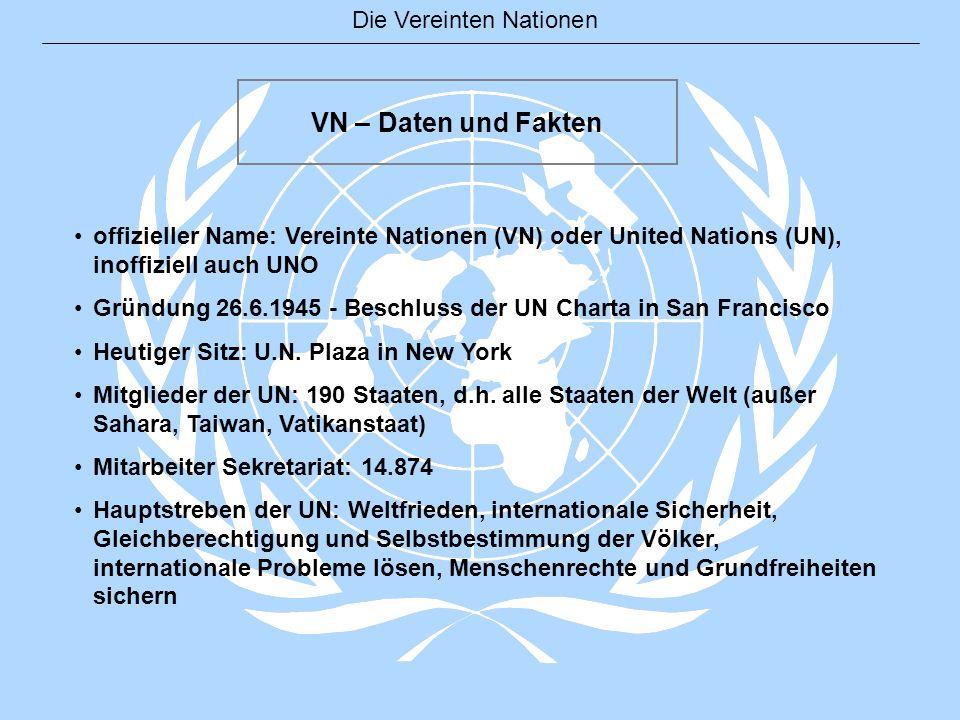 VN – Daten und Fakten offizieller Name: Vereinte Nationen (VN) oder United Nations (UN), inoffiziell auch UNO Gründung 26.6.1945 - Beschluss der UN Ch