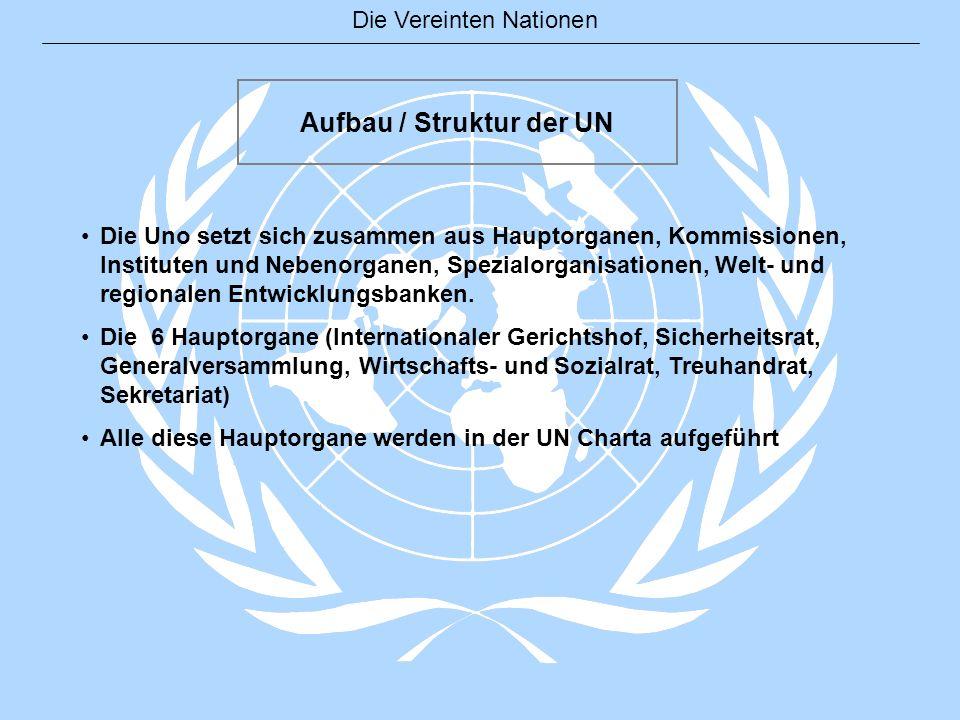 Die Vereinten Nationen Aufbau / Struktur der UN Die Uno setzt sich zusammen aus Hauptorganen, Kommissionen, Instituten und Nebenorganen, Spezialorgani