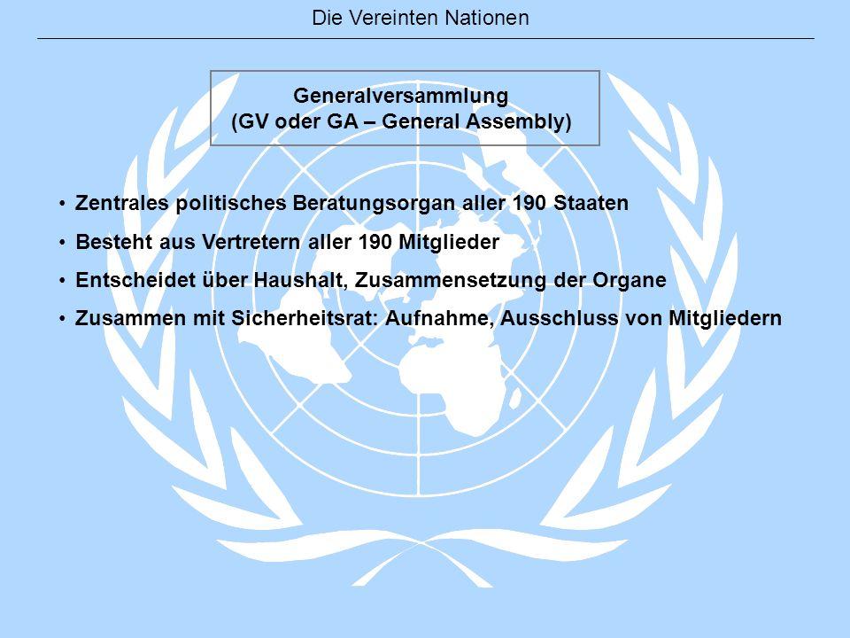 Die Vereinten Nationen Generalversammlung (GV oder GA – General Assembly) Zentrales politisches Beratungsorgan aller 190 Staaten Besteht aus Vertreter