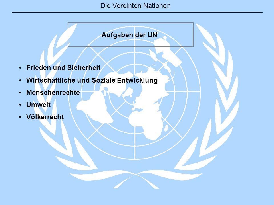 Die Vereinten Nationen Frieden und Sicherheit Wahrung des Weltfriedens und der internationalen Sicherheit Sicherheitsrat, Hauptorgan für Weltfrieden und Sicherheit Aktivitäten der Friedens- und Sicherheitspolitik Friedenskonsolidierung > dauerhafter Frieden Friedenssicherungseinsätze, derzeit 14 Einsätze, seit 1948 56 Einsätze.