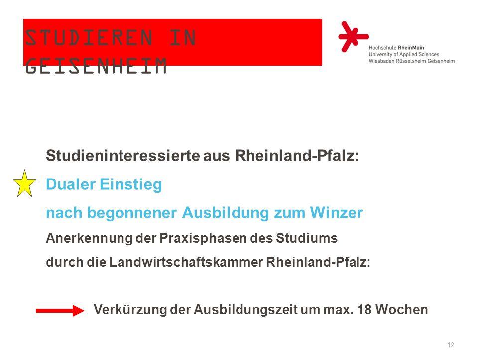 STUDIEREN IN GEISENHEIM 12 Studieninteressierte aus Rheinland-Pfalz: Dualer Einstieg nach begonnener Ausbildung zum Winzer Anerkennung der Praxisphase