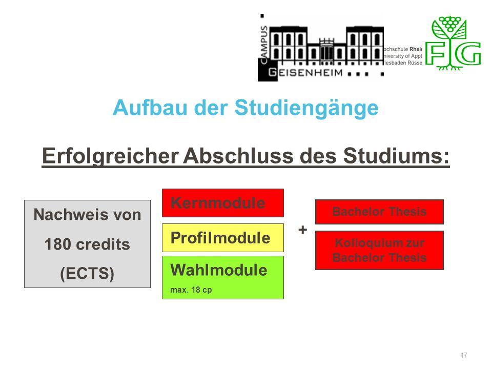 17 Erfolgreicher Abschluss des Studiums: Nachweis von 180 credits (ECTS) Kernmodule Profilmodule Wahlmodule max. 18 cp + Kolloquium zur Bachelor Thesi