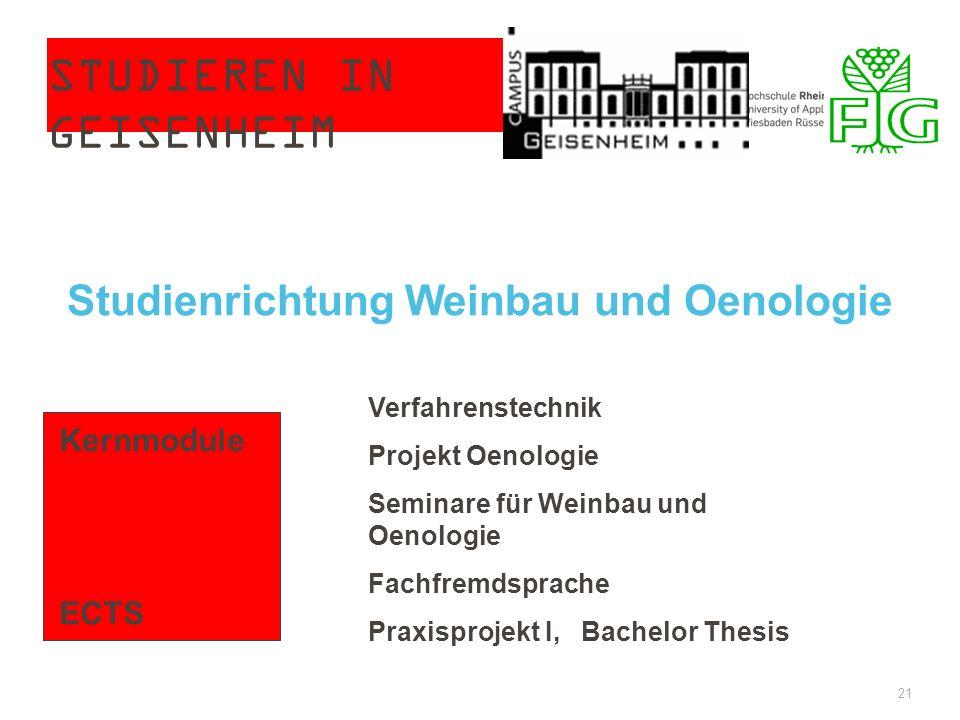 STUDIEREN IN GEISENHEIM 21 Kernmodule ECTS Verfahrenstechnik Projekt Oenologie Seminare für Weinbau und Oenologie Fachfremdsprache Praxisprojekt I, Ba