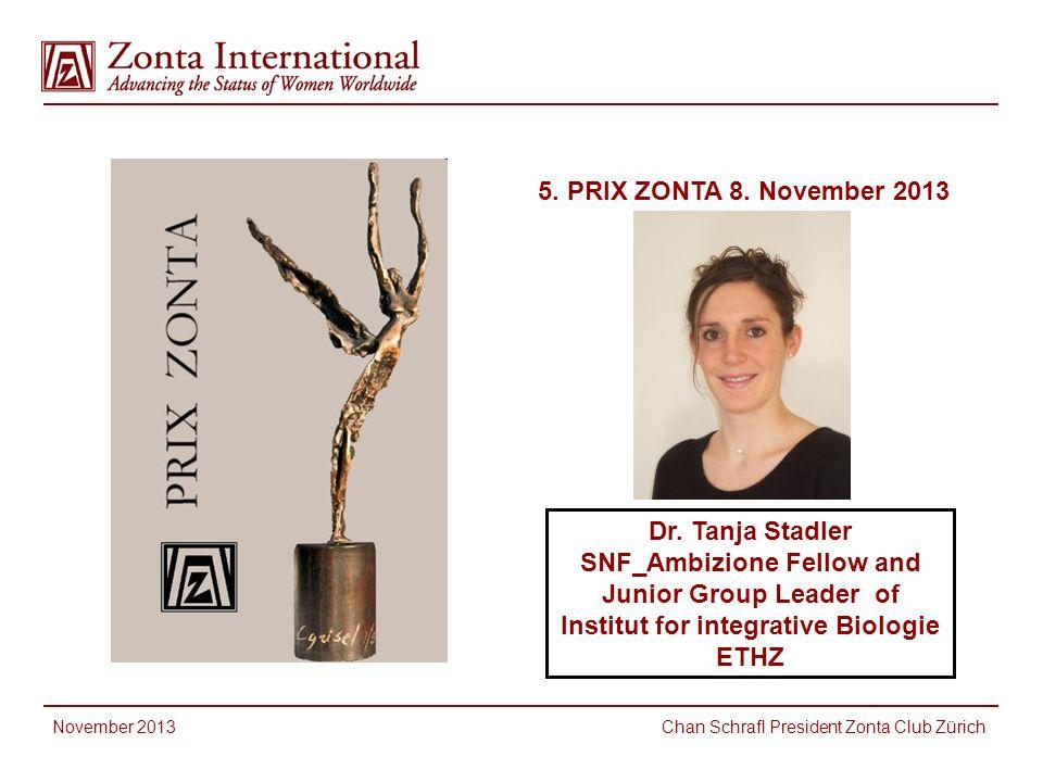5.PRIX ZONTA 8. November 2013 November 2013 Chan Schrafl President Zonta Club Zürich Dr.