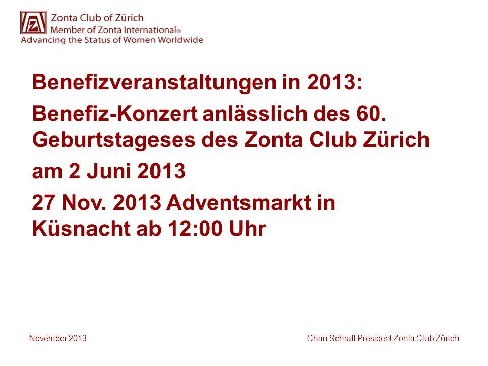 Benefizveranstaltungen in 2013: Benefiz-Konzert anlässlich des 60. Geburtstageses des Zonta Club Zürich am 2 Juni 2013 27 Nov. 2013 Adventsmarkt in Kü