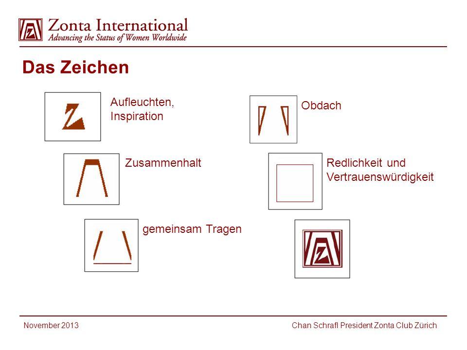 Das Zeichen Aufleuchten, Inspiration Zusammenhalt gemeinsam Tragen Obdach Redlichkeit und Vertrauenswürdigkeit November 2013 Chan Schrafl President Zonta Club Zürich