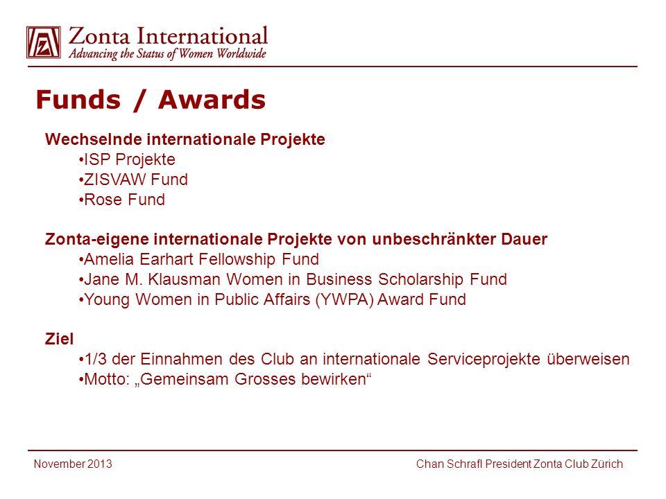 Funds / Awards International Service Fund Wechselnde internationale Projekte ISP Projekte ZISVAW Fund Rose Fund Zonta-eigene internationale Projekte von unbeschränkter Dauer Amelia Earhart Fellowship Fund Jane M.