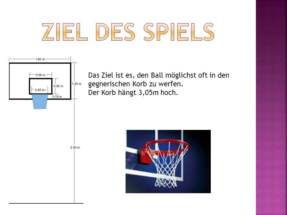 Das Ziel ist es, den Ball möglichst oft in den gegnerischen Korb zu werfen. Der Korb hängt 3,05m hoch.