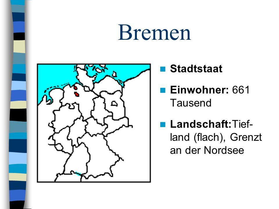 Bremen Stadtstaat Einwohner: 661 Tausend Landschaft:Tief- land (flach), Grenzt an der Nordsee