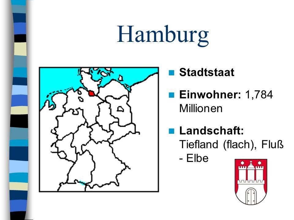 Hamburg Stadtstaat Einwohner: 1,784 Millionen Landschaft: Tiefland (flach), Fluß - Elbe
