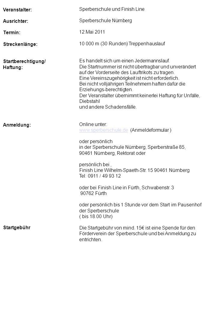 Veranstalter: Ausrichter: Termin: Streckenlänge: Startberechtigung/ Haftung: Anmeldung: Startgebühr Sperberschule und Finish Line Sperberschule Nürnbe