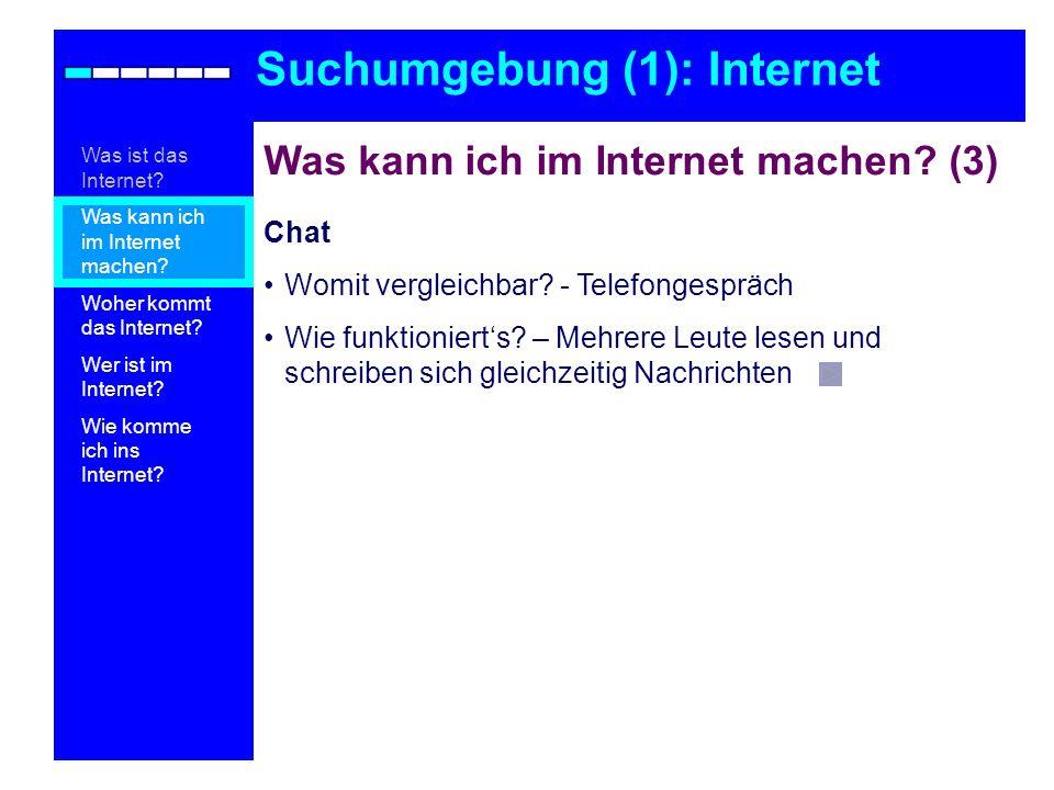 Was kann ich im Internet machen? (3) Chat Womit vergleichbar? - Telefongespräch Wie funktionierts? – Mehrere Leute lesen und schreiben sich gleichzeit