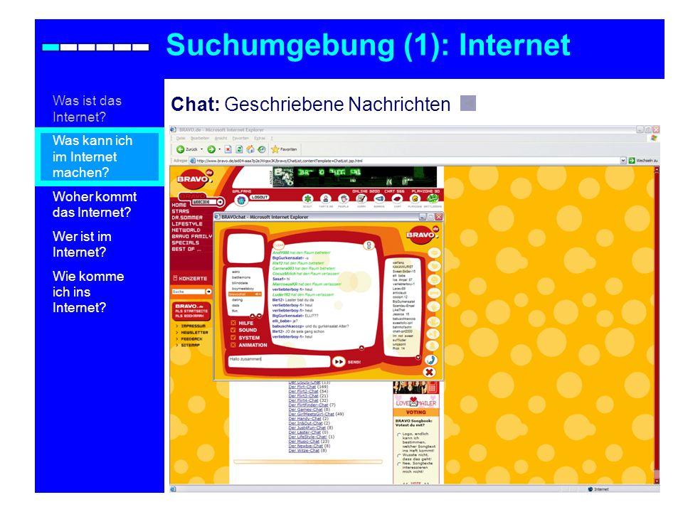 Chat: Geschriebene Nachrichten Suchumgebung (1): Internet Was ist das Internet? Was kann ich im Internet machen? Woher kommt das Internet? Wer ist im