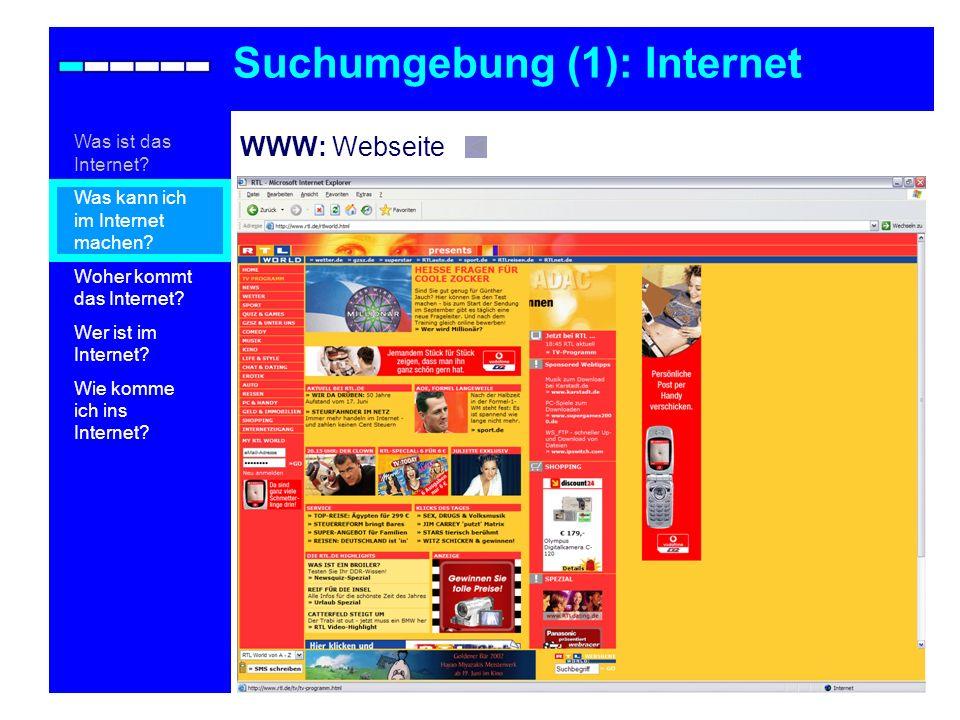 WWW: Webseite Suchumgebung (1): Internet Was ist das Internet? Was kann ich im Internet machen? Woher kommt das Internet? Wer ist im Internet? Wie kom