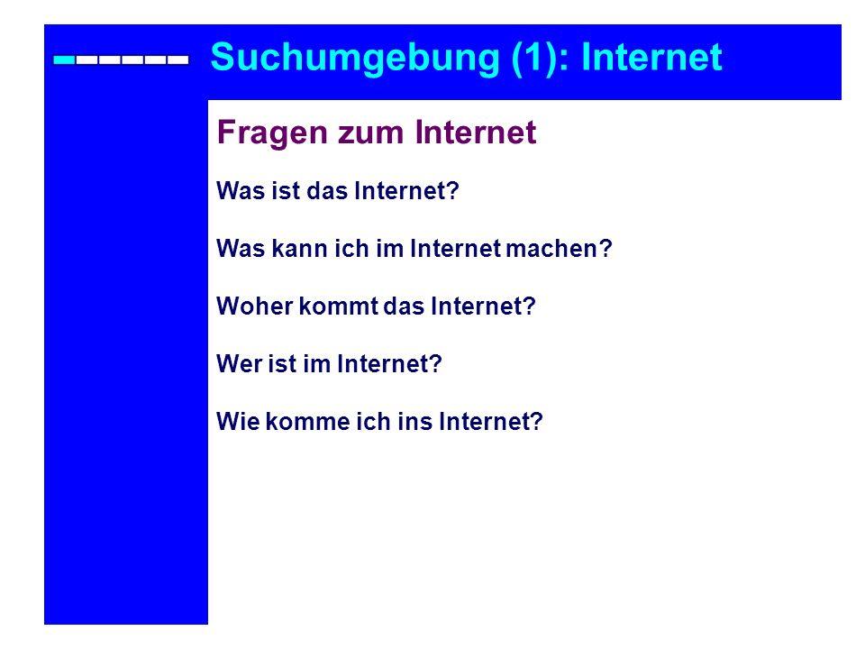 Suchumgebung (1): Internet Fragen zum Internet Was ist das Internet? Was kann ich im Internet machen? Woher kommt das Internet? Wer ist im Internet? W