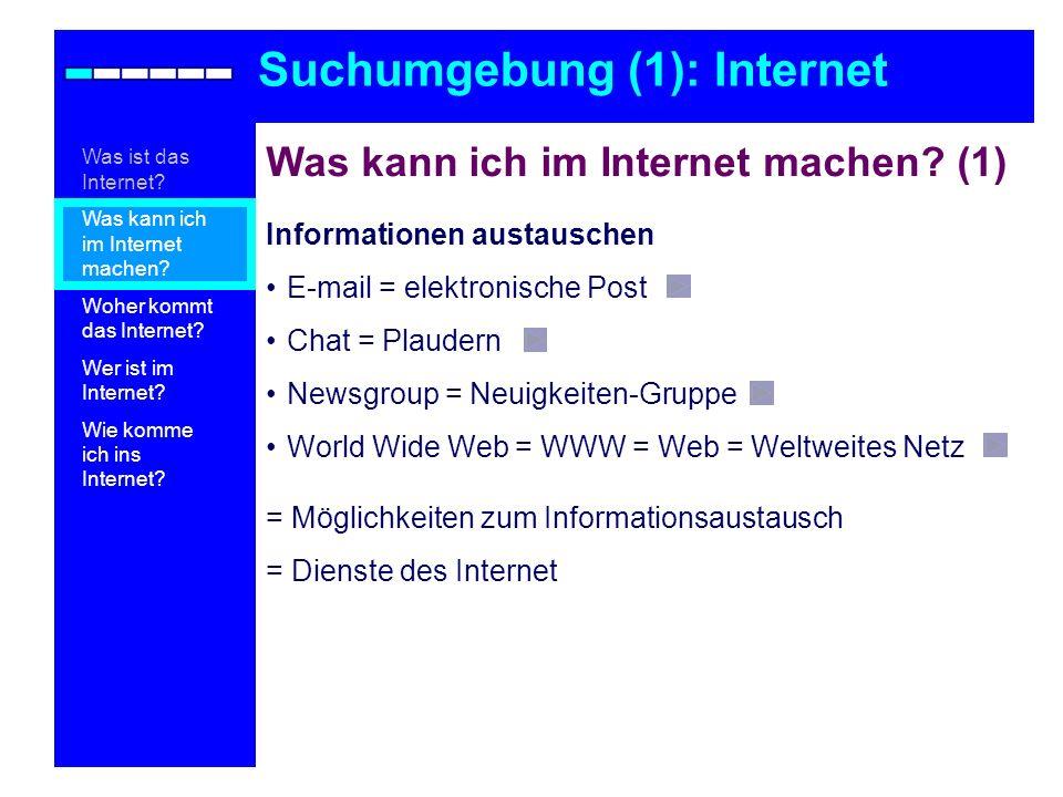 Was kann ich im Internet machen? (1) Informationen austauschen E-mail = elektronische Post Chat = Plaudern Newsgroup = Neuigkeiten-Gruppe World Wide W