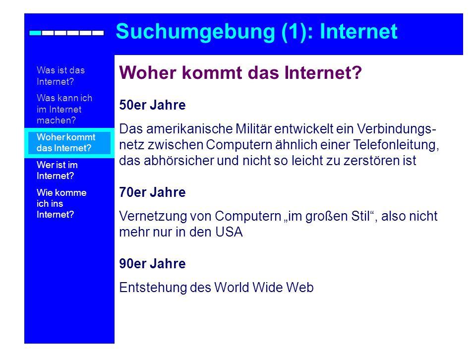 Woher kommt das Internet? 50er Jahre Das amerikanische Militär entwickelt ein Verbindungs- netz zwischen Computern ähnlich einer Telefonleitung, das a
