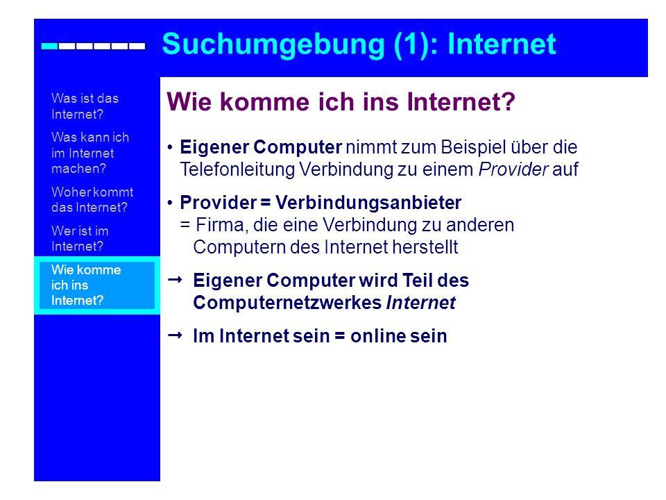 Eigener Computer nimmt zum Beispiel über die Telefonleitung Verbindung zu einem Provider auf Provider = Verbindungsanbieter = Firma, die eine Verbindu