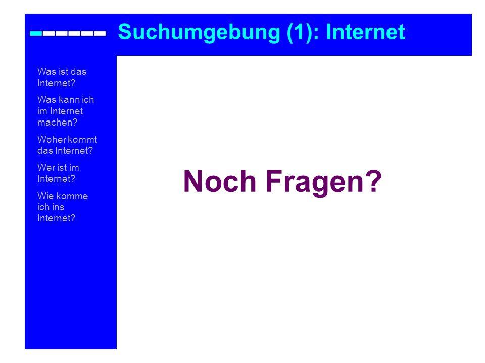 Was ist das Internet? Was kann ich im Internet machen? Woher kommt das Internet? Wer ist im Internet? Wie komme ich ins Internet? Noch Fragen? Suchumg