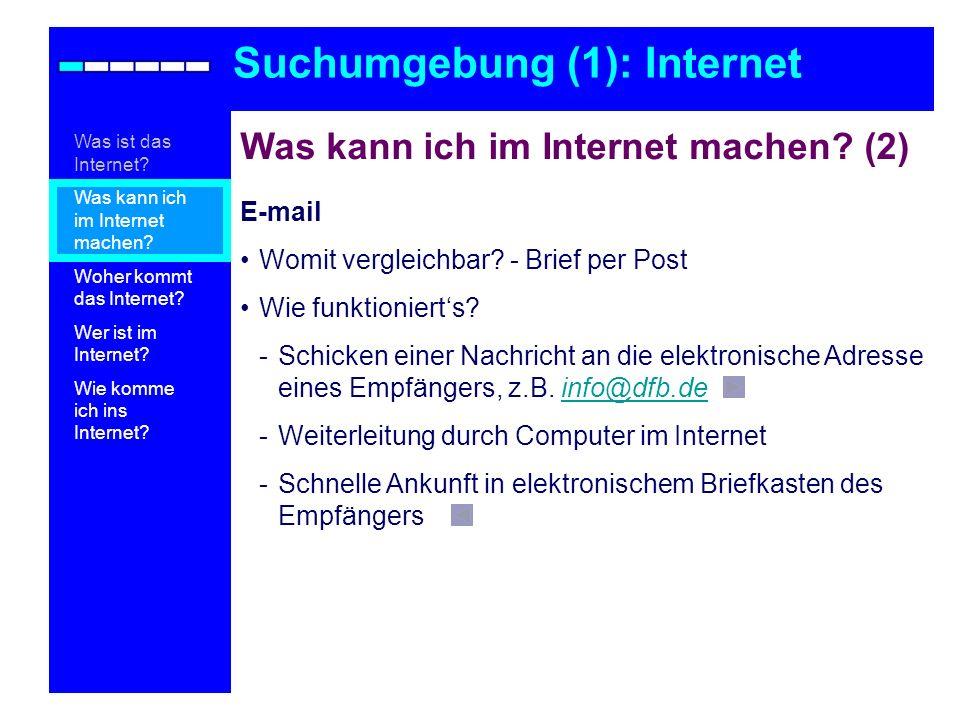 Was kann ich im Internet machen? (2) E-mail Womit vergleichbar? - Brief per Post Wie funktionierts? -Schicken einer Nachricht an die elektronische Adr
