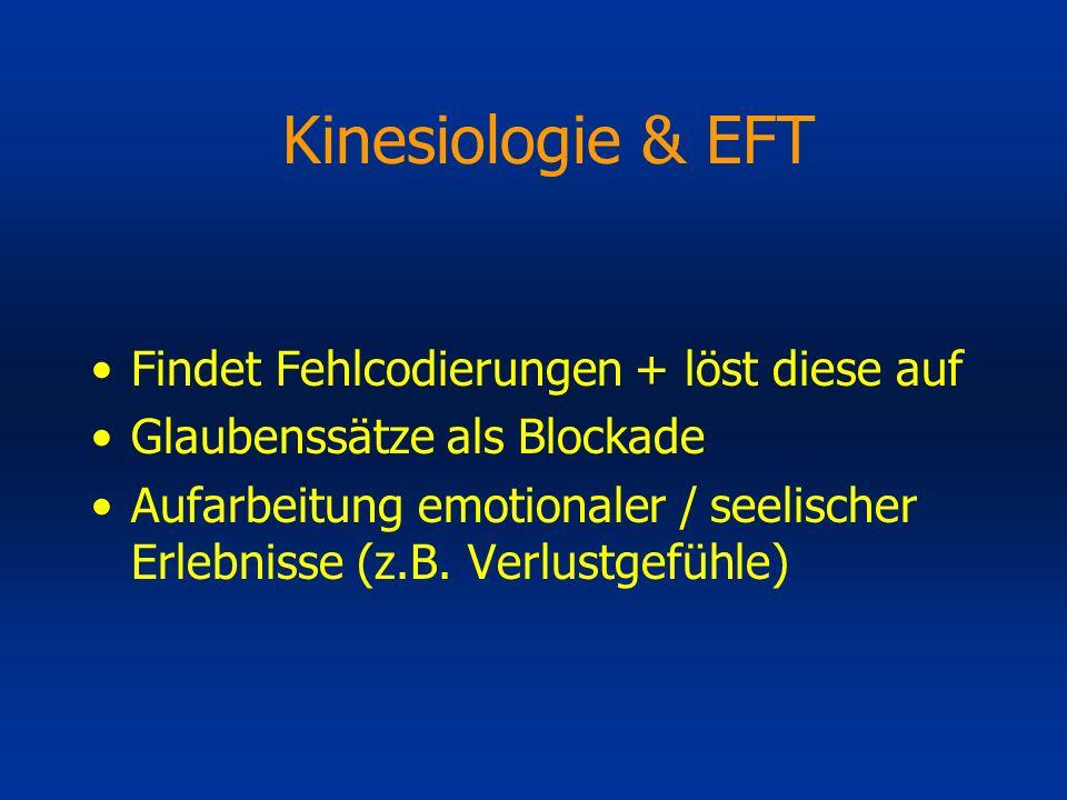 Kinesiologie & EFT Findet Fehlcodierungen + löst diese auf Glaubenssätze als Blockade Aufarbeitung emotionaler / seelischer Erlebnisse (z.B. Verlustge